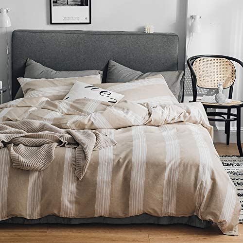 OREISE Duvet Cover Set Queen Size Tan and White Printed Vertical Striped Pattern 100% Cotton Bedding Set (1 Duvet Cover + 2 Pillow Shams) with Zipper Closure Soft Breathable Durable (And Duvet Striped White Brown Cover)