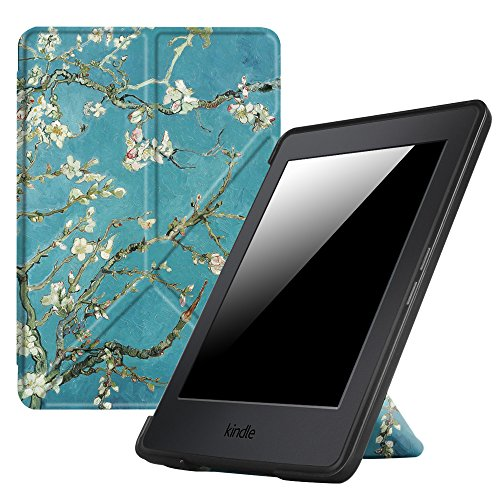 (Fintie Origami Case for Kindle Paperwhite - The Thinnest and Lightest PU Leather Cover for All-New Amazon Kindle Paperwhite (Fits All Versions: 2012, 2013, 2015 and 2016 New 300 PPI), Blossom)