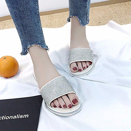 XIAOGEGE Arrastre y suelte la palabra zapatos de mujer verano nuevo ropa casual, fresco zapatillas Silver