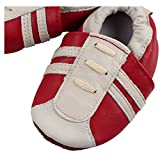FREE FISHER Baby Girls Boys Shoes Toddler Soft Sole Prewalker First Walker Crib Shoes Baby Moccasins, Red, 12-18 Months