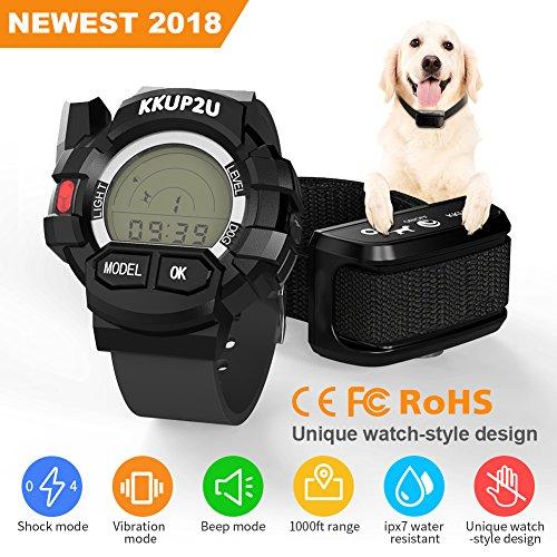 KKUP2U Dog Training Collar, Dog Shock Collar Beep/Vibration/Shock Electronic Collar, Rechargeable Remote IPX7 Waterproof 1000 Foot Range (10-120 LBS) by KKUP2U