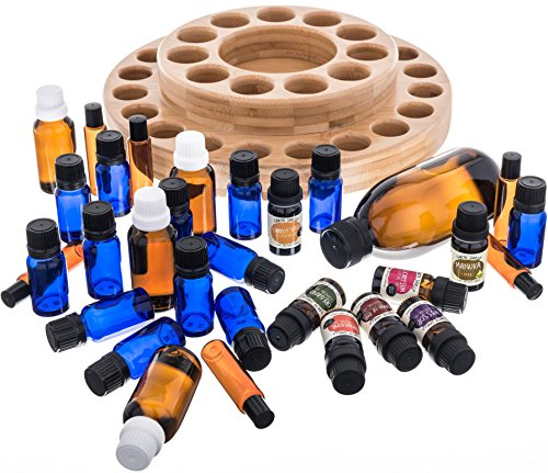 Essential Oil Wooden Storage Carousel | Premium Container Case Organizer Box Tray - Holds 10ml, 15ml, 30ml, 1/3oz, 1/2oz, 1oz, Roller Bottles for Homeopathy and Aromatherapy