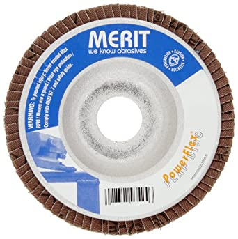 Merit Powerflex Contoured Abrasive Flap Disc, Type 29, Threaded Hole, Aluminum Backing, Zirconia Alumina