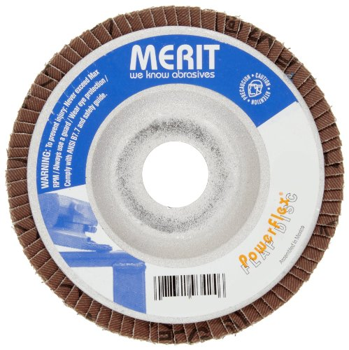 Merit Powerflex Contoured Abrasive Flap Disc, Type 29, Threaded Hole, Aluminum Backing, Zirconia Alumina, 4-1/2