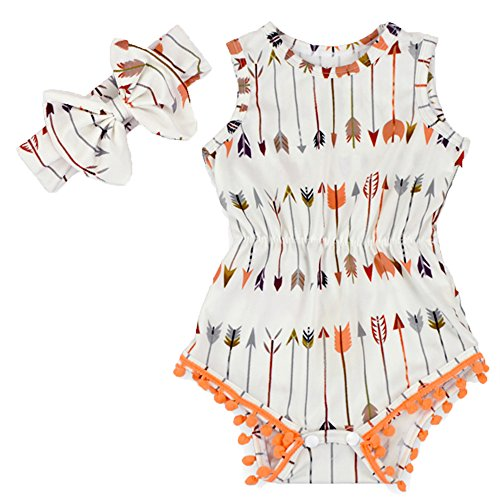 Anbaby Gilrs Bronzing Dot Romper Climbing Clothes With A Bow Headband White+Orange 6-12Months Cute Diaper Shirt