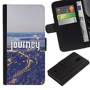 KingStore / Leather Etui en cuir / Samsung Galaxy S5 Mini, SM-G800 / Texte Lumières Ville Trace Nuit