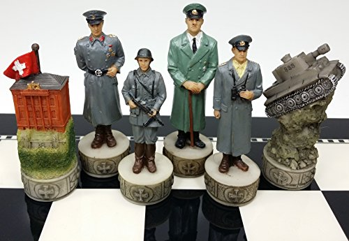(World War 2 WW2 Set of Chess Men Pieces Hand Painted - NO)