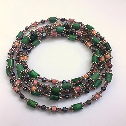 Green pink purple flapper necklace Super long multi wrap Jade pearls Special occasion Triple wrap Semiprecious jewelry Rococo necklace (Pearl Purple Jade Necklace)