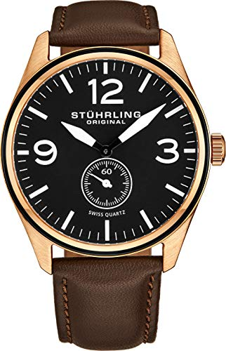 - Stuhrling Original Men's 931.03 Aviator Rose Gold-Tone Stainless Steel Watch with Brown Leather Band