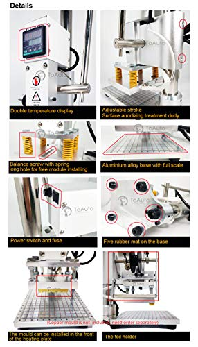 Upgraded Hot Foil Stamping Machine 10x13cm Leather Bronzing Pressure Mark Machine 110V withFull Scale onTheBasePlate for PVC Leather PU Paper Logo Embossing by FASTTOBUY (Image #3)
