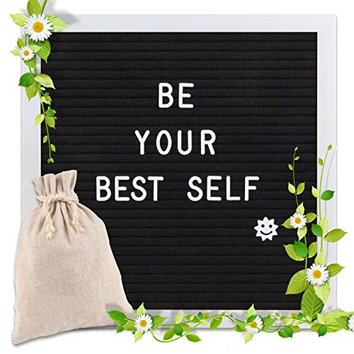 - Changeable Letter Board 10x10 inches, Message Sign Board with Canvas Bag, Adjustable Stand,Wall Mount and 340 Letters, Numbers & Symbols (White)