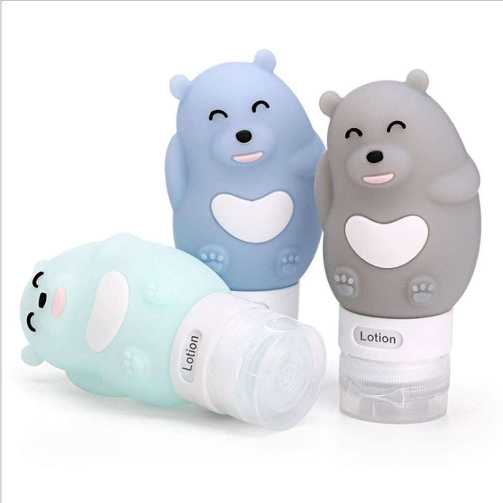 MAIEY 3pcs lindo portátiles Botellas de viajes de silicona Conjunto forma del oso desinfectante de la mano de tamaño de viaje Envase rellenable Squeezable aprobados por la TSA a prueba de fugas for ar