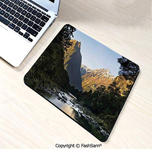 Personalized 3D Mouse Pad Photo of Stunning Mountains with Snowy Peaks and Valley with River Peace Nature for Laptop Desktop(W9.85xL11.8)