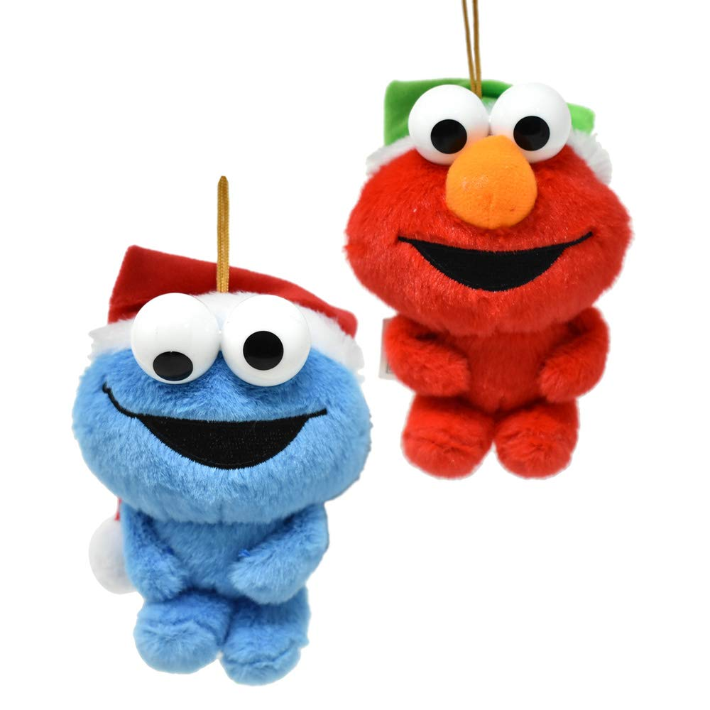 Amazon Com Hanging Plush Elmo And Cookie Monster With Santa