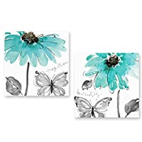 Genius Decor 2 Piece Daisy Flowers Butterfly in Aqua Grey White Wall Decor Canvas Artwork Art Prints Decor (12x12inchx2pieces)