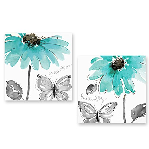 Genius Decor 2 Pieces Modern Turquoise Wall Decor, Daisy Flower and Butterfly in Aqua Turquoise Art Canvas Prints for Living Room Decoration (16x16inchx2pieces)
