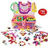 WTOR Beads Toys 700Pcs Girls Toys Pop-Arty Beads Snap-Together Kid DIY Toy Made Jewelry Necklaces/Bracelets/Rings/Crafts as Birthday with Jewelry Box