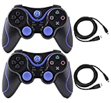Cheap Kepisa 2 Packs Wireless Bluetooth Controller For PS3 Double Shock – Bundled with USB charge cord (BlackBlue and BlackBlue)