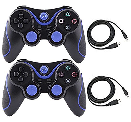 Kepisa 2 Packs Wireless Bluetooth Controller For PS3 Double Shock - Bundled with USB charge cord (BlackBlue and BlackBlue)