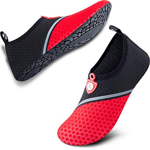 SIMARI Unisex Water Sports Shoes Barefoot Aqua Socks Slip-on Indoor Outdoor Snorkeling SWS002 513 Black Red 6-6.5