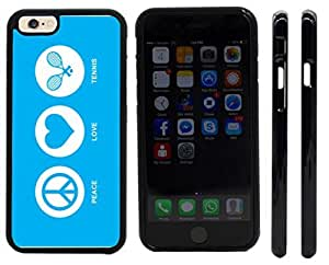 Rikki KnightTM Peace Love Tennis Sky Blue Design iPhone 6 Case Cover (Black Rubber with front bumper protection) for Apple iPhone 6