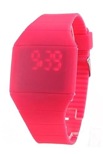 SODIAL(R)Unisexo Tacto Digital Rojo LED Silicona Deportes Reloj de Pulsera Reloj Rosa Rojo: Amazon.es: Relojes
