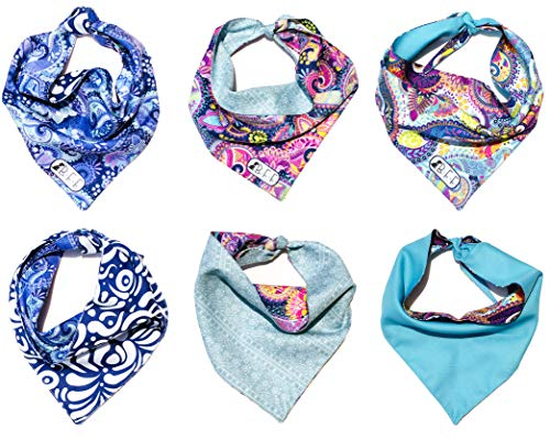 B&F 3 Pack Reversible Dog Bandana 3 Pieces - 6 Looks, Machine Washable Handmade pet Accessories. Scarves for Small, Medium,and Large Dogs. Mod. ()