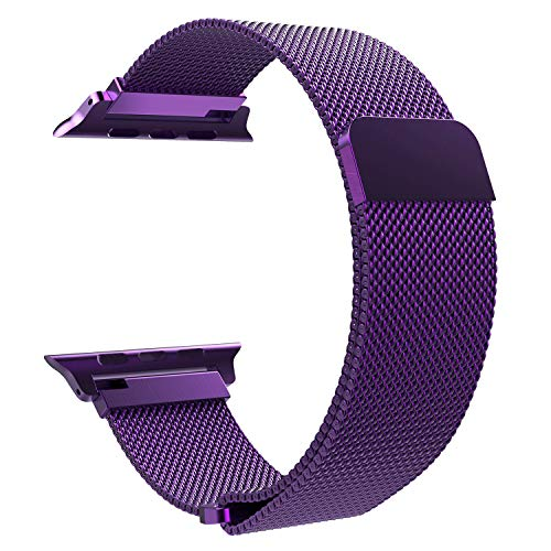 TiMOVO Compatible Band Replacement for Apple Watch 42mm 44mm Series 4/3/2/1, Milanese Loop Stainless Steel Bracelet Strap with Unique Magnet Lock - Purple