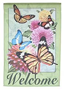Welcome Lawn Flag w/ Butterflies & Flowers by Garden Accents (12 x 18 Inch)