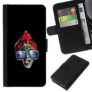YiPhone /// Tirón de la caja Cartera de cuero con ranuras para tarjetas - Azul Gafas Hindú - LG OPTIMUS L90