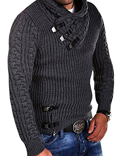 Cable Knit Henley Sweater (Runcati Mens Sweaters Casual Pullover Turtleneck Cable Knit Striped Jackets Coat (X-Large, Dark Grey))