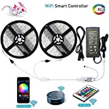 LUNSY RGB LED Strip lights 32.8ft/10M, Wifi Light Strip with Remote, 300LED 5050, IP65 Waterproof Rope Lights, Ribbon Lights, Wireless Smart Phone, Alexa Controlled