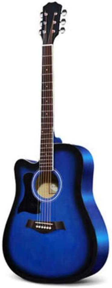 BAIYING-Guitarra Acústica Guitarra Clasica Adulto Rendimiento Al Aire Libre Cuerda De Acero De Metal Calidad De Sonido Ajustable Fácil De Cargar 41 Pulgadas Picea, 5 Colores