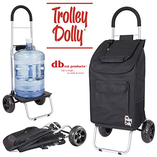 (dbest products Trolley Dolly, Black Shopping Grocery Foldable Cart)