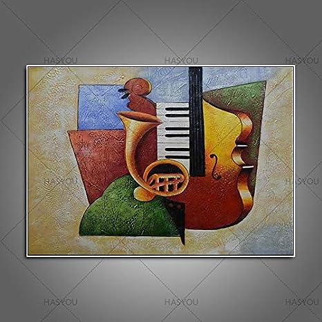 ZHUAIBA Marco Abstracto Pintado a Mano Guitarra Pintura al óleo ...