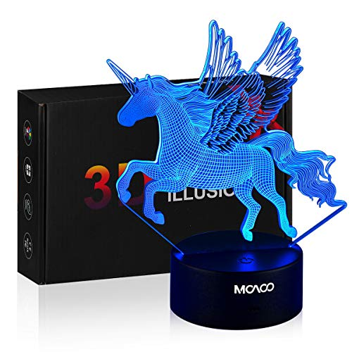 MOAOO 3D Night Light Unicorn Lamp LED Unicorn Light 16 Colors Change with Smart Touch & Remote Control Optical Illusion Lamps As a Gift Idea for Women Kids Boys Girls Bedroom Decor