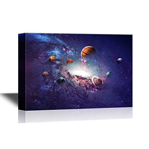 wall26 - Astronomy Canvas Wall Art - Planets of the Solar System - Gallery Wrap Modern Home Decor | Ready to Hang - 32x48 inches by wall26