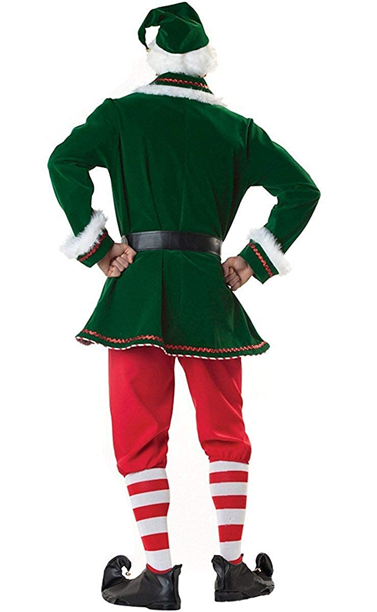 Neilyoshop Mens Elf Costume Adult Deluxe Santa Cosplay Suit Christmas Costume