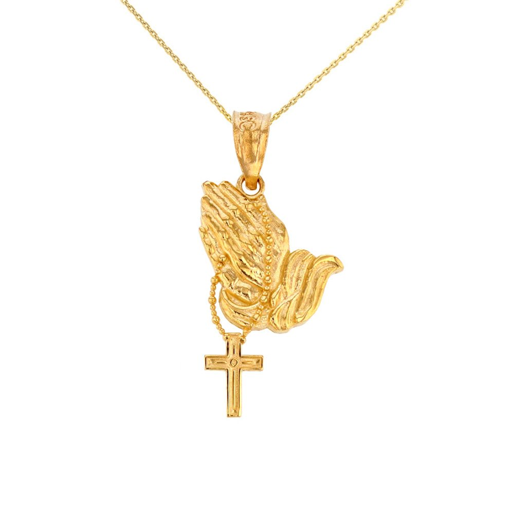 14k Yellow Gold Prayer Hands With Prayer Beads Charm Pendant Necklace, 20''