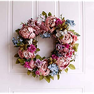 LAIMENNI Handmade Pink Peony Wreath Floral Artificial Simulation Garland Wreath Pink ?Front Door Wreath Decoration 15.5 inch 99
