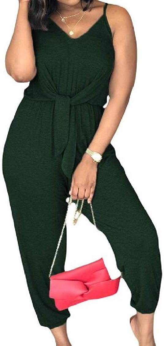 WNSY Women Ankle Length Stretch Waist Baggy Spaghetti Strap Leisure Jumpsuit