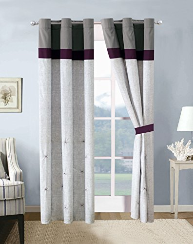 4-Pc Akira Floral Blossom Stripe Curtain Set Antique Silver