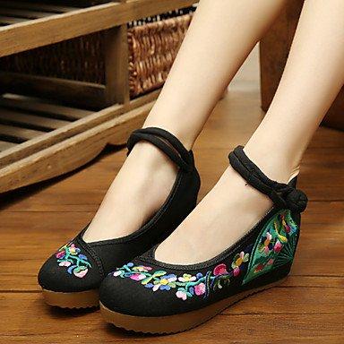 Cómodo y elegante soporte de zapatos de la mujer zapatos lienzo primavera/verano/otoño Mary Jane/comodidad Flats Casual soporte de talón hebilla flor rojo blanco Walking negro