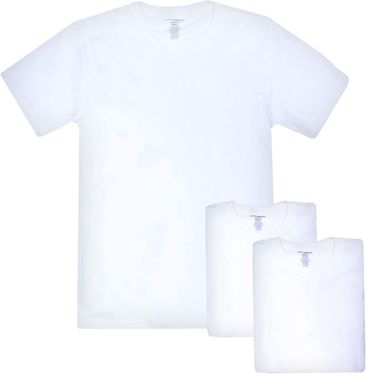 Package 3Pack 100/%Cotton White Crew Tees T-Shirt New 42-44 NWT Lucky Brand L