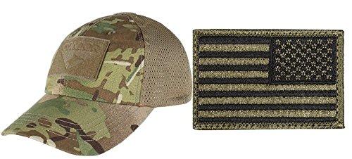 bab486e3c85f5 Condor Mesh MultiCam Cap + USA FLAG PATCH OD GREEN RIGHT