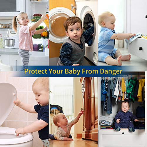 51JWcsIi%2B9L Cabinet Locks for Babies - Floridliving 6 Baby Proofing Cabinet Lock + 6 Extra 3M Adhesives + 6 Corner Protector, Multi-Purpose for Furniture, Kitchen, Ovens, Toilet Seats,Table Corner Guards    Product Description