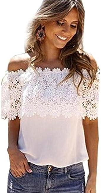 Overdose Blusa Sexy Mujer Fuera del Hombro Tops Casual Blusa de Encaje Sólido Crochet Gasa Camisa Vacaciones Verano Elegante Tops Dama: Amazon.es: Ropa y accesorios