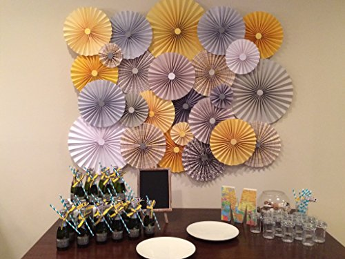 40pc Set of Yellow gray Paper Pinwheel's Rosette paper Flower Party Decoration wedding birthday shower pinwheel decour photobooth backdrop by Droptastic Designs