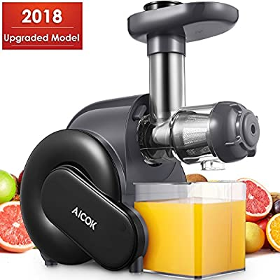 Juicer, Aicok Slow Masticating Juicer with Reverse Function, Cold Press Juicer with Quiet Motor, Juice Extractor with Recipe, Juice Jug and Brush for High Nutrient Juice, BPA Free