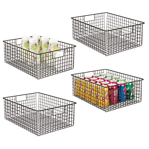 mDesign Farmhouse Decor Metal Wire Food Organizer Storage Bin Baskets with Handles for Kitchen Cabinets, Pantry, Bathroom, Laundry Room, Closets, Garage - 4 Pack - Bronze (With Handles Metal Baskets Small)